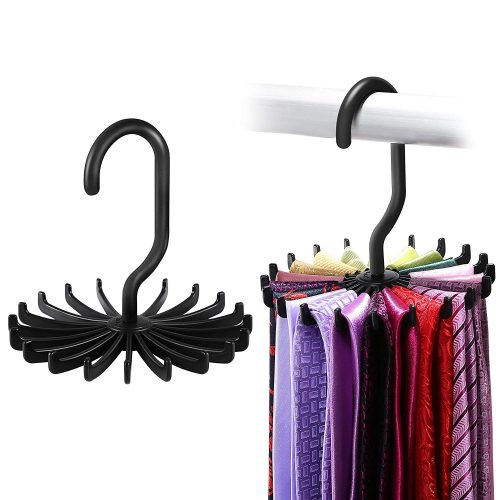 IPOW 2 Pack Updated Twirl Tie Rack Belt Hanger Holder Hook for Closet Organizer Storage