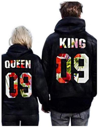 Jingjing1 Couple Matching King and Queen Letters Printed Pullover Hooded Sweatshirt (S, King)