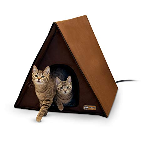 "K&H Pet Products Outdoor Multi-Kitty A-Frame - Chocolate 35"" X 20.5"" X 20"" (Heated or Unheated)"