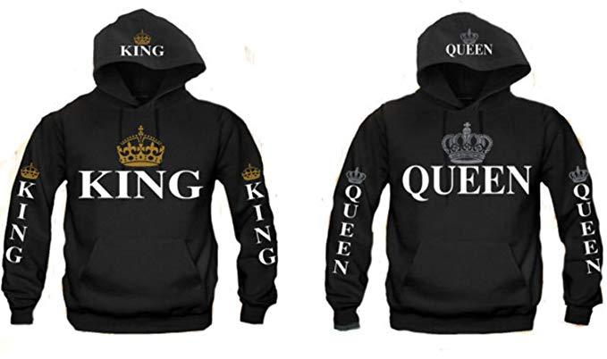 King and Queen Couples Hooded Sweatshirt (King M/Queen M) King And Queen Hoodies