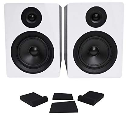 "Pair Rockville APM5W 5.25"" 2-Way 250W Powered USB Studio Monitor Speakers+Pads"