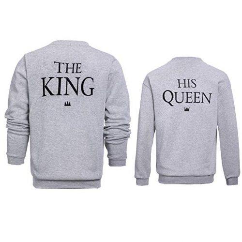252810fc23 ZZhong Queen King Printed Hooded Sweatshirt Fashion Couples Pullover Hoodie  Grey Jumper Set(no Hood