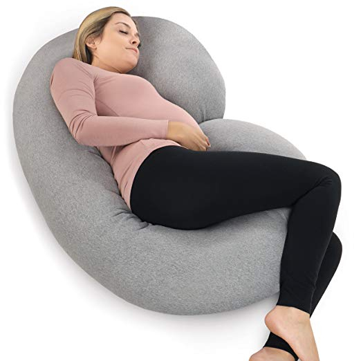 PharMeDoc Pregnancy Pillow with Jersey Cover, C Shaped Full Body Pillow - Available in Grey, Blue, Pink, Mint Green)