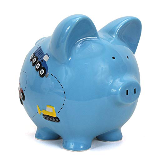 Child to Cherish Ceramic Piggy Bank for Boys, Construction Trucks, Blue