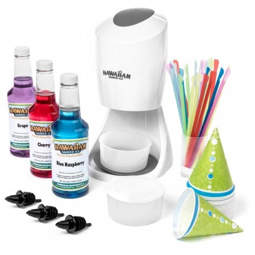 Shaved Ice Machine and Syrup Party Package | Includes S900A Shaved Ice Machine, 3 Ready-To-Use Pints of Syrup, 25 Snow Cone Cups, 25 Spoon Straws, 3 Black Bottle Pourers, 2 Round Block Ice Molds