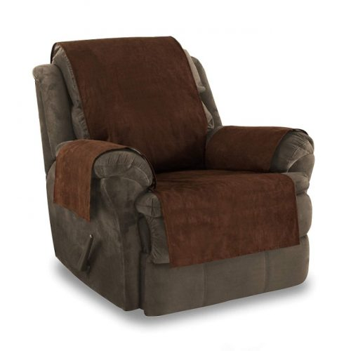 Link Shades Anti-Slip Grip Furniture Protector, Chair Cover, Slipcover, with Stay Put Straps and Water Resistant Microsuede Fabric. Protects from Dogs. (Recliner, Chocolate)