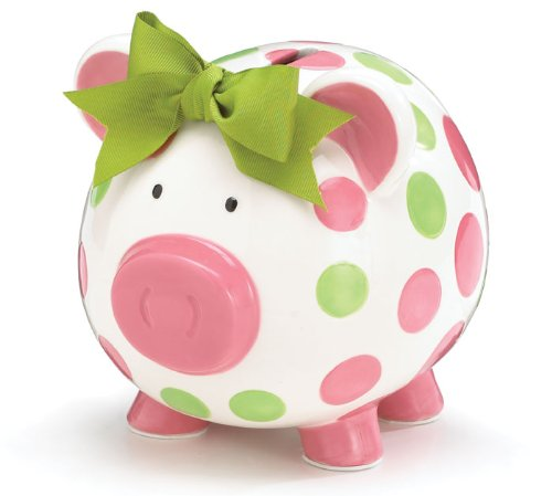 Burton & Burton Girls Pink & Green Circles Pig Piggy Bank Green Bow Ceramic Personalized Baby Nursery Décor