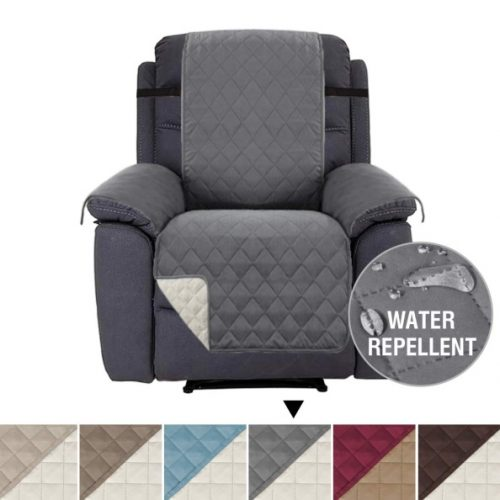 "H.VERSAILTEX Recliner Cover Recliner Slipcover Recliner Protector for Pets, Reversible and Thick, 2"" Elastic Straps, Diamond Stitches Pattern, Cotton Like Quilted (Recliner Brown/Beige)"