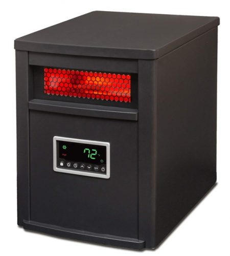 LifeSmart 6 Element w/Remote Large Room Infrared Heater, Black/Gray