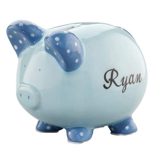 Personalized Ceramic Kids Piggy Bank by Miles Kimball – Blue