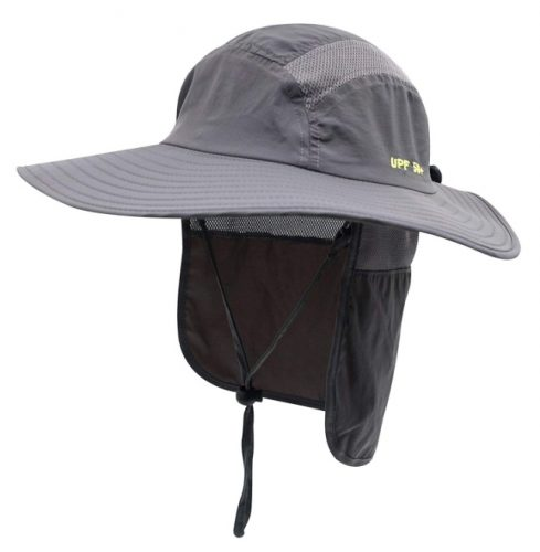 Home Prefer Mens UPF 50+ Sun Protection Cap Wide Brim Fishing Hat with Neck Flap