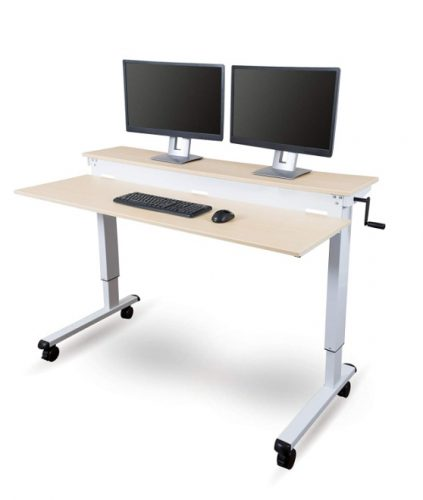 Stand Up Desk Store Crank Adjustable Sit to Stand Up Computer Desk – Heavy Duty Steel Frame, 60 Inches, White Frame/Birch To
