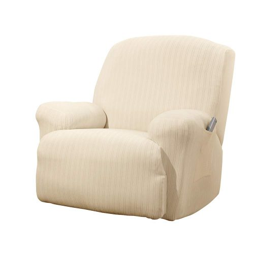 SureFit Stretch Pinstripe 1-Piece - Recliner Slipcover – Taupe