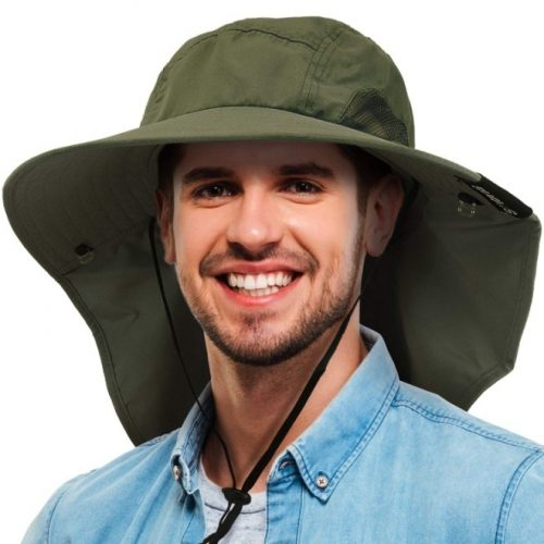TirriniaMens Wide Brim Sun Hat with Neck Flap Fishing Safari Cap for Outdoor Hiking Camping Gardening Lawn Field Work