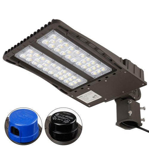 Ultra Bright LED Parking Lot Light with Photocell, 150W (450W Equiv.) Slipfitter Mount Area Lighting Fixture, Dusk-to-Dawn, DLC & ETL Listed, for Docks, Driveways, Backyards, 5-Year Warranty