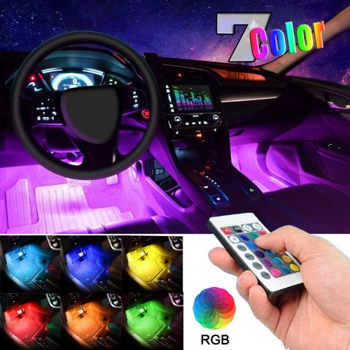 Control, Car Charger Included, DC 12V…. Car LED Strip Light, EJ's SUPER CAR 4pcs 36 LED Multi-color Car Interior Lights Under Dash Lighting Waterproof Kit with Multi-Mode Change and Wireless Remote
