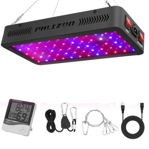 Phlizon Newest 600W LED Plant Grow Light,with Thermometer Humidity Monitor,with Adjustable Rope,Full Spectrum Double Switch Plant Light for Indoor Plants Veg and Flower- 600W(10W LEDs 60Pcs)​