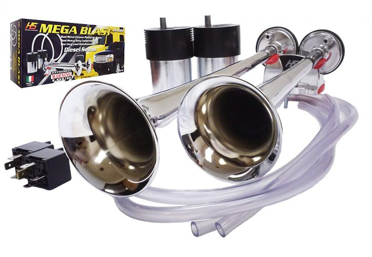 HS Heavy Duty Mega Blast Horns Extremely Loud (Metal Chrome)