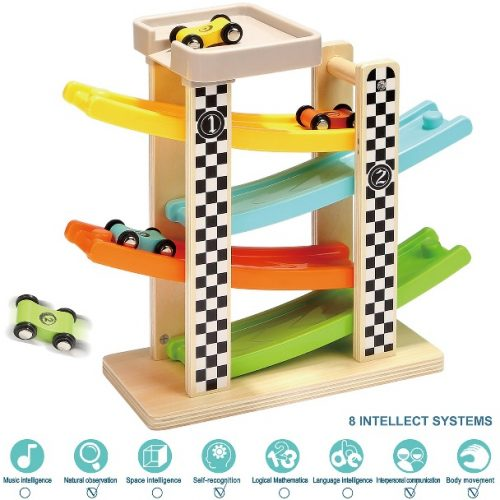 TOP BRIGHT Toddler Toys For 1 2-Year-Old Boy And Girl Gifts Wooden Race Track Car Ramp Racer With 4 Mini Cars