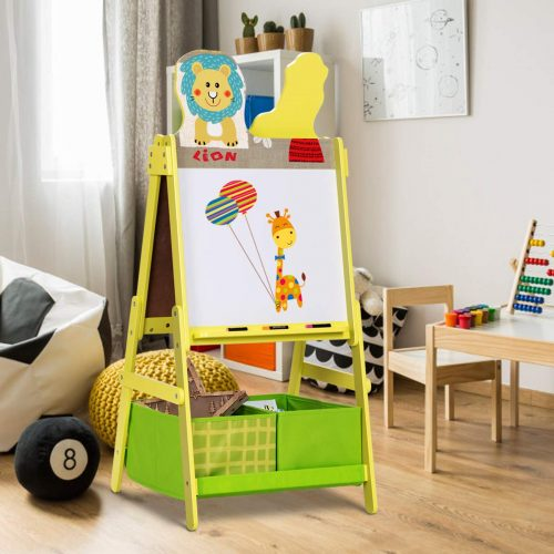 Costzon Kids Art Easel, Magnetic & Chalk Double Sided Art Easel, A-Frame Easel with Two Storage Bins, Cut Animal Design for Boys & Girls, Green