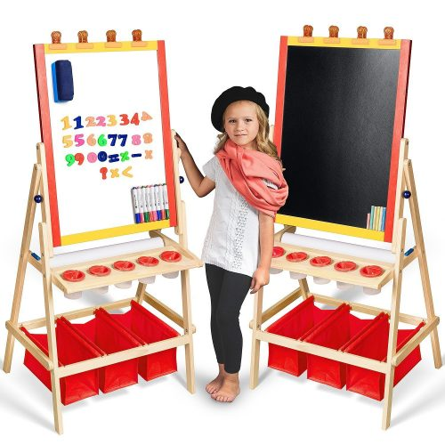 Kids Easel with Paper Roll +FREE Kids Art Supplies - Double Sided Childrens Easel Chalkboard / Magnetic Dry Erase Board - Toddler Easel with Storage Bins Wooden Art Easel for Kids Painting and Drawing