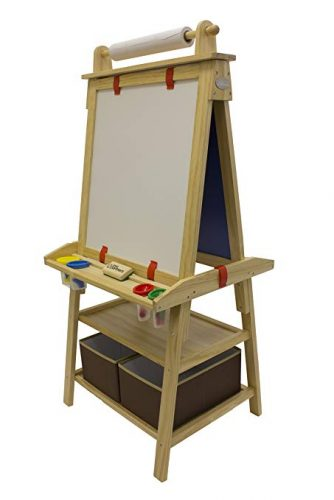 Little Partners Deluxe Art Easel (Natural) - Two Sided A-Frame Paint Easel, Chalk Board & Magnetic Dry Erase - w/Storage, Supply Holder & Paper Feed - Art Station &...
