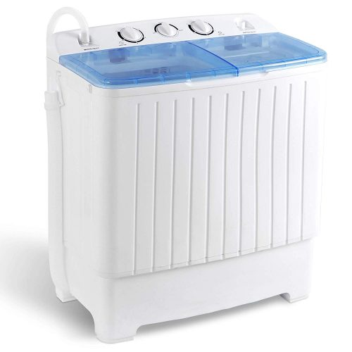 SUPER DEAL 5th Generation Mini Compact Twin Tub Washing Machine 17.6lbs Washer and Spinner 2IN1 Ideal for Dorms, Apartments, RV, Camping