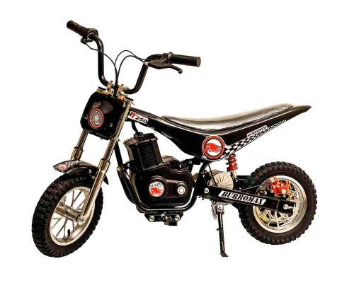 Burromax Black TT250 Electric Motorcycle Dirt Bike for Kids | Fast and Long Lasting 24V 250W Charge | Ride On Mini Pocket Bike Off Road 20001