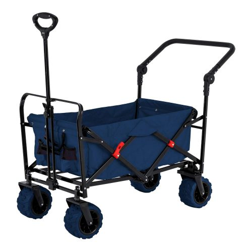 Blue Wide Wheel Wagon All-Terrain Folding Collapsible Utility Wagon