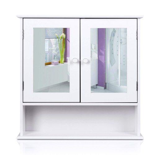 HOMFA Bathroom Wall Cabinet Multipurpose Kitchen Medicine Storage Organizer with Mirror Double Doors Shelves, White Finish
