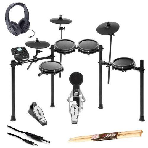 Alesis Nitro Mesh Electronic Drum Kit With a Pair of Drum Sticks + Samson SR350 Headphones + Hosa 3.5 mm Interconnect Cable, 10 feet - Deluxe Accessory Bundle