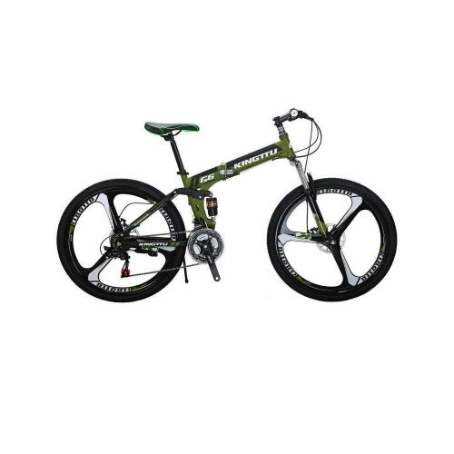 Extrbici Mountain Bike Foldable Bicycle 3 Spoke Wheel,G6 Dual Suspension 26 inch 21 speeds Shimano Derailleur