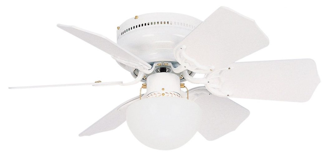 Litex BRC30WW6L Vortex 30-Inch Ceiling Fan with Six Reversible White/Whitewash Blades and Single Light kit with Opal Mushroom Glass
