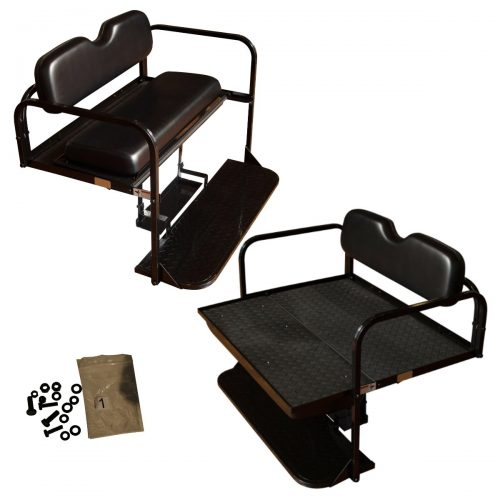 EZGO TXT Golf Cart Rear Flip Folding Back Seat Kit, 1995 and Up (Black Cushions)