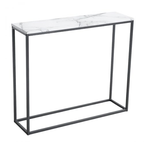 Room filters Sofa Console Table Marble Print Top Metal Frame Accent White Narrow Foyer Hall Table, White