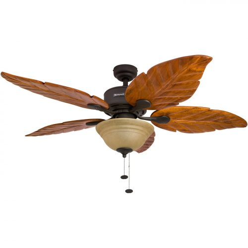 Honeywell Sabal Palm 52-Inch Tropical Ceiling Fan with Sunset Bowl Light, Five Hand Carved Wooden Leaf Blades, Lindenwood/Basswood, Bronze 1550847988