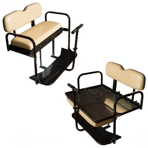 EZGO TXT Golf Cart Rear Flip Back Seat Kit - Factory Tan