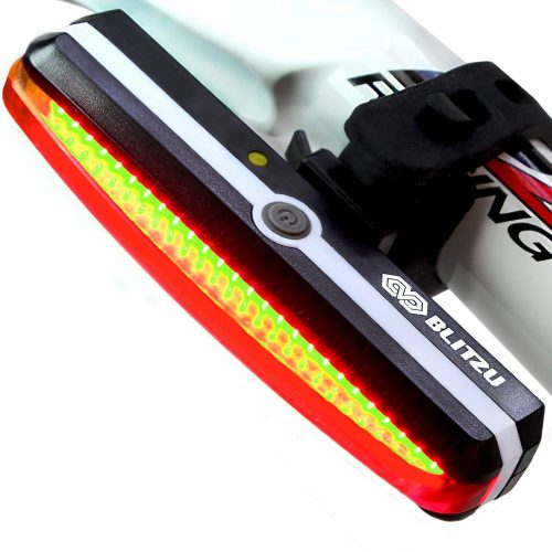 Ultra Bright Bike Light Blitzu Cyborg 168T USB Rechargeable Bicycle Tail Light. Red High Intensity Rear LED Accessories Fits On Any Road Bikes, Helmets. Easy To Install for Cycling Safety Flashlight