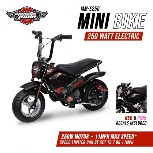 Monster Moto MM-E250-PR Black/Red/Pink Watt 250 W Electric Mini bike