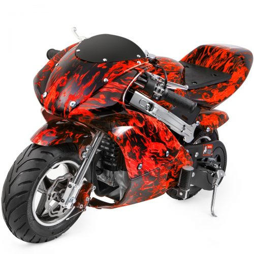 XtremepowerUS Gas Pocket Bike Motorcycle 40cc 4-Stroke Engine (Red Flame)