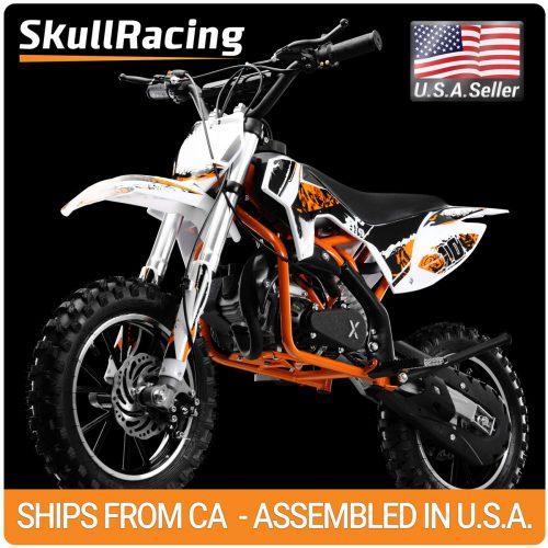 SkullRacing Gas Powered Mini Dirt Bike Motorcycle 50RR (Orange)