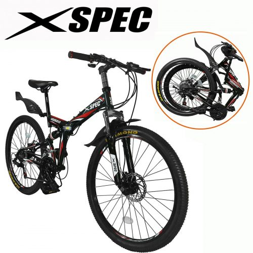 "Xspec 26"" 21-Speed Folding Mountain Trail Bicycle Commuter Foldable Bike, Black/White/Yellow"