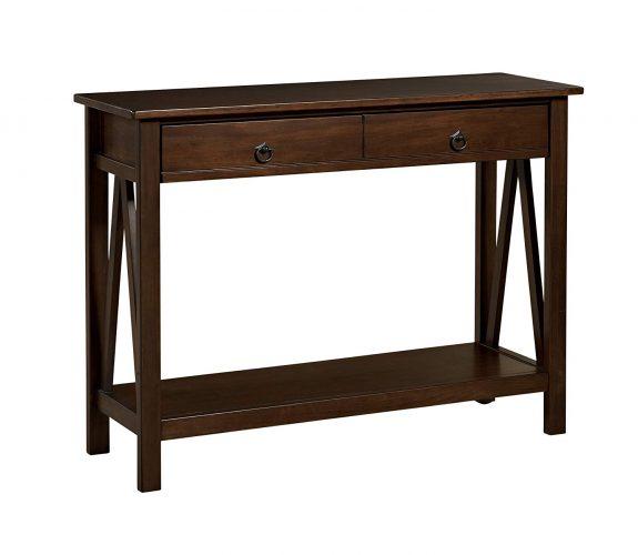 """Linon Home Decor 86152ATOB-01-KD-U Console Table, 42.01"""" w x 13.98"""" d x 30.71"""" h, Antique Tobacco"""