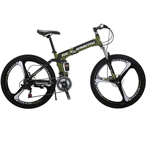 Kingttu KTG6 Mountain Bike 26 Inches 3 Spoke Wheels Dual Suspension Folding Bike 21 Speed MTB Army Green