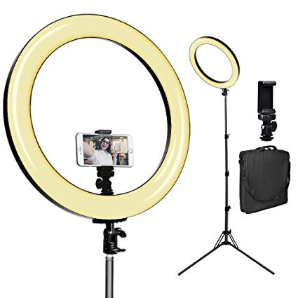 "[Upgraded] 18inch Ring Light w/ 78"" Stand, USB Power Output for the Studio Makeup Live Vlogger"