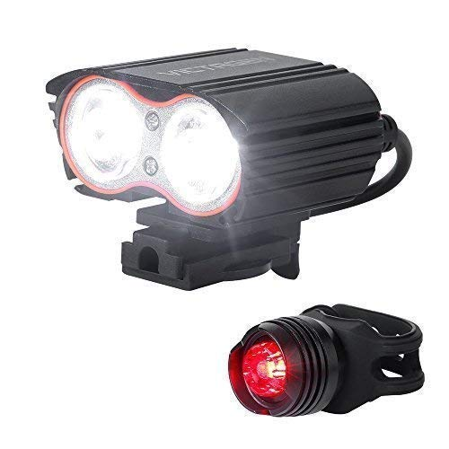 Victagen Bike Light Front &Tail Light,Super Bright 2400 Lumens, Bicycle Headlight USB Rechargeable,Waterproof LED Front & Rear Light, Easy to Mount Fits for Mountain Bike Road Bicycle Kids Men Cycling