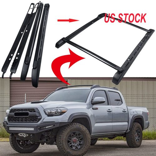 MotorFansClub Black Roof Rail Crossbars Kits for 05-18 Toyota Tacoma Double Cab OE Style Luggage Cargo Bar Rack US Stock