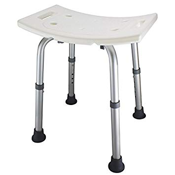 Ez2care Adjustable Lightweight Shower Bench, White,2 Sizes (18 inches)