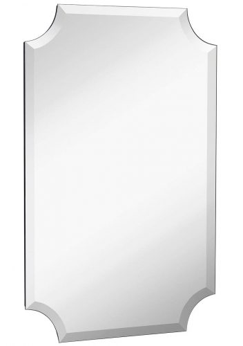 "Beveled Scalloped Edge Rectangular Wall Mirror | 1 inch Bevel Curved Corners Rectangle Mirrored Glass Panel for Vanity, Bedroom, or Bathroom Hangs Horizontal & Vertical Frameless (20"" x 30"")"