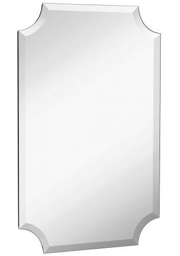 "Beveled Scalloped Edge Rectangular Wall Mirror | 1 inch Bevel Curved Corners Rectangle Mirrored Glass Panel for Vanity, Bedroom, or Bathroom Hangs Horizontal & Vertical Frameless (20"" x 30"")"